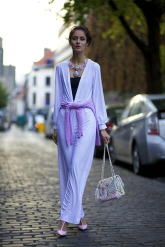 from brussels with love blogger jumpsuit shoes jewels bag