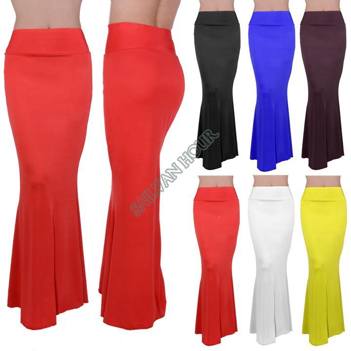 2014 plus size skirts womens new summer fashion maxi skirt long elastic high waist casual skirt floor length b8 sv001497