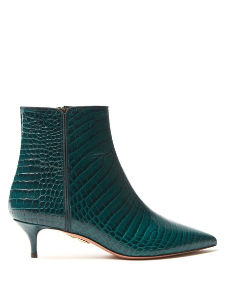 Aquazzura leather ankle boots ankle boots leather crocodile dark green shoes