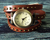 jewels,wrap watch,watch,studded,brown,leather watch,vintage style watch