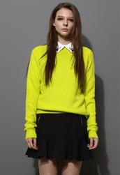 sweater,neon green,classic,angora