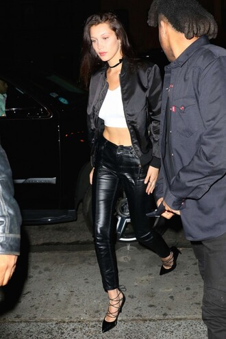 shoes pumps bella hadid leather pants crop tops jacket model off-duty spring outfits choker necklace bomber jacket