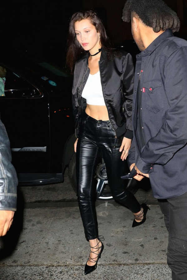 shoes pumps bella hadid leather pants crop tops jacket model off-duty  spring outfits choker. 442eb69127