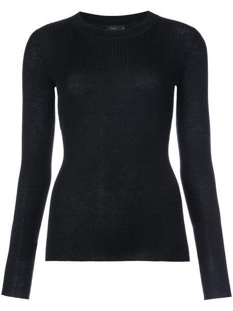 jumper women fit black silk wool sweater