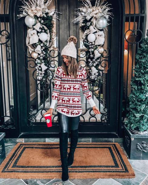 0cb6aeb0cb8 pants faux leather leggings over the knee boots black boots christmas  sweater knitted sweater hat knit