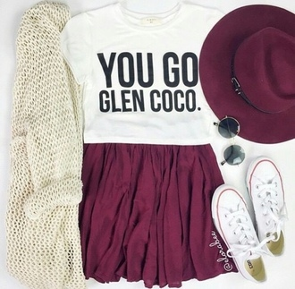 cardigan converse fedora sunglasses skirt skater skirt graphic tee grunge t-shirt grunge hipster style back to school outfit outfit idea mean girls shirt mean girls