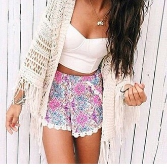 shorts white lace trimmed shorts white lace floral shorts colourful shorts