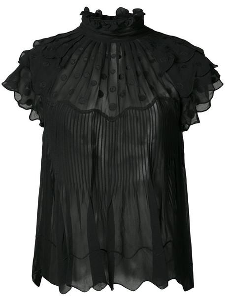 blouse sheer ruffle women black silk top