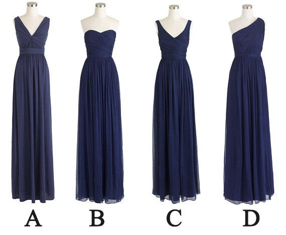 Navy Blue Bridesmaid Dresses Long Bridesmaid Dress By