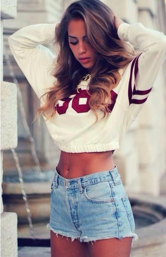 sweater letters red white croped swater crop cropped sweater shorts coat number shirt varsity stripes red and white sporty