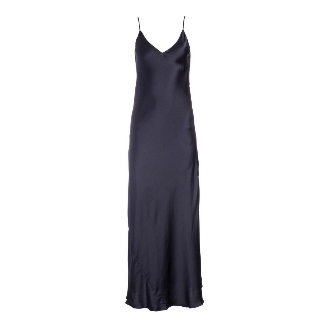 Almost Black Silk Slip Dress