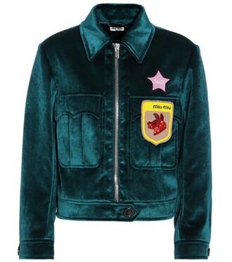 jacket beaded velvet blue