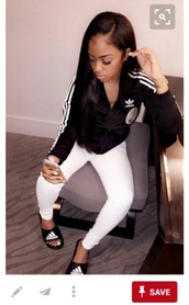 jumpsuit,adidas jacket,slide shoes,adidas,white jeans,white pants,black