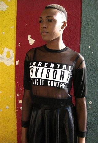 90s Style Black Mesh Parental Advisory Logo Top | Smoking Gun Vintage | ASOS Marketplace