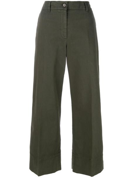 ASPESI women spandex cotton green pants