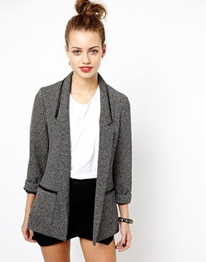 New Look | New Look Birdseye Leather Look Trim Blazer at ASOS