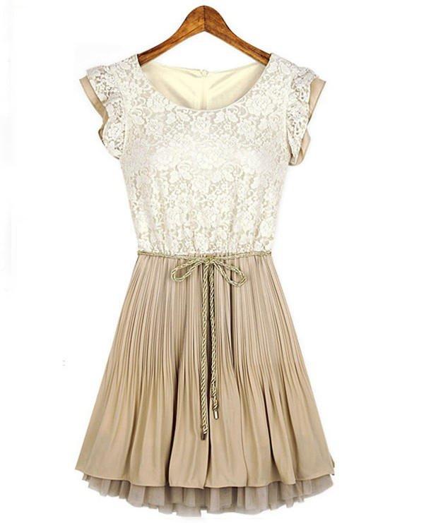 com : Buy 5 sizes beige lace top women dress cream color ...