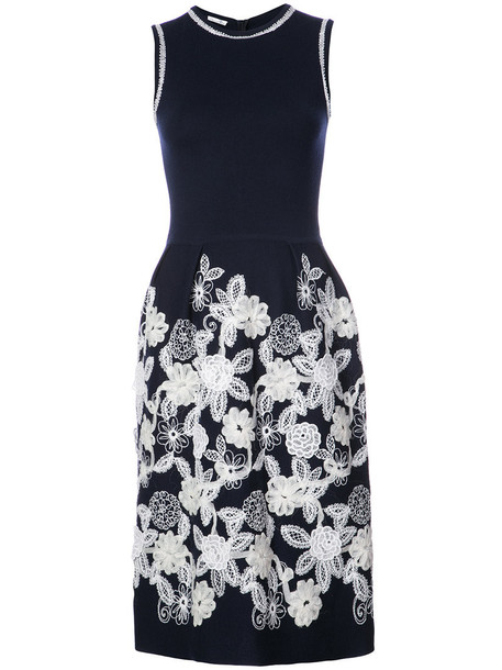 dress shift dress women floral blue wool