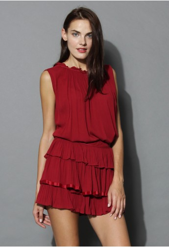 Loving Ruffles Top and Skirt Set in Wine - Retro, Indie and Unique Fashion
