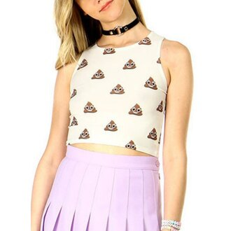 top emoji print poop casual girly cute high waisted kawaii hippie grunge