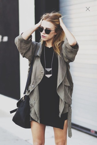 jacket bag leather bag necklace dress black dress army green jacket outfit layered sunglasses hipster