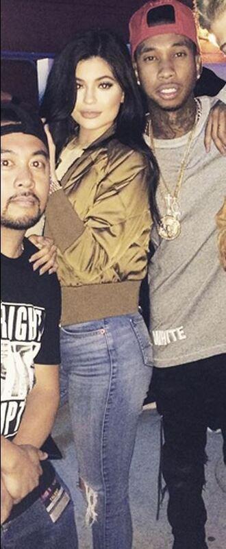bomber jacket kylie jenner jeans instagram tyga