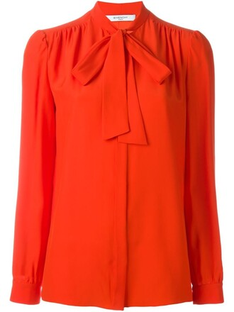 blouse bow yellow orange top