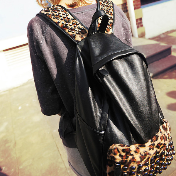 bag backpack black leopard print