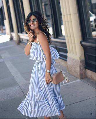 dress skirt bandeau tumblr matching set stripes striped top striped skirt two-piece bag nude bag summer outfits sunglasses