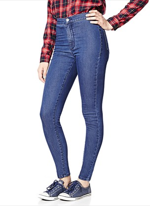 Easy Blue Roller Jegging - Roller Ultra High Waist Jeggings - Garage