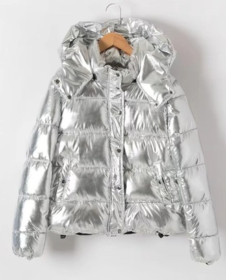 jacket silver puffer jacket puffer coart metallic hoodie zip zip up jacket