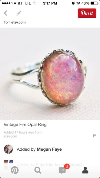 jewels silver ring silver ring bands band two bands fire opal opal pink orange yellow blue green scallop ruffled