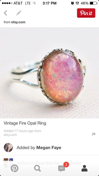 jewels silver ring silver ring band two bands fire opal opal pink orange yellow blue green scalloped ruffle