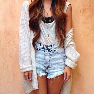 jacket oversized cardigan knitted cardigan cardigan shorts blouse white blouse high-wasted denim shorts white tank top black tank top sweater