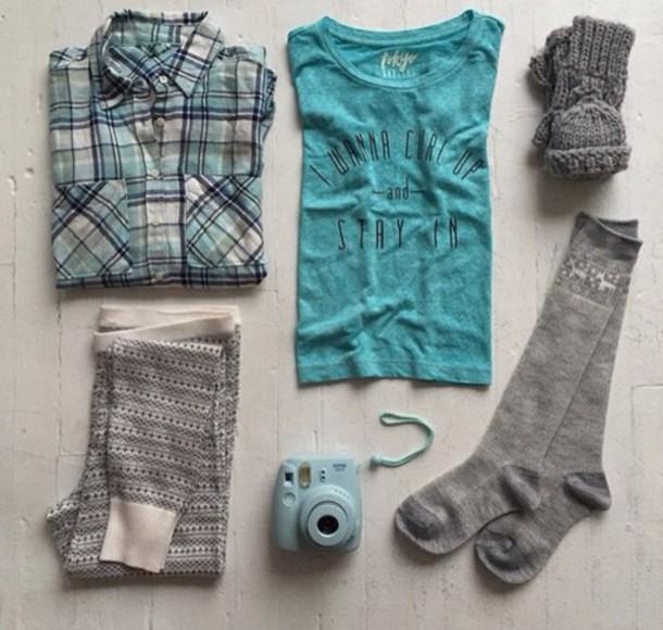 blouse pants socks t-shirt