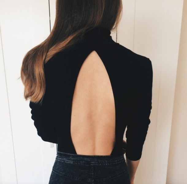 sweater backless top black top turtleneck