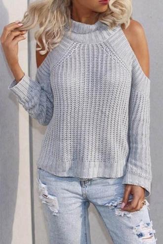 sweater warm grey knitwear long sleeves turtleneck long sleeve cutout sweater stylish clothes fashion