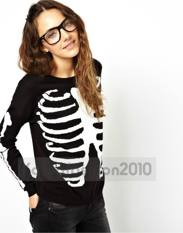 New Europe US Women Autumn Skull Skeleton Bones Printed Casual Sweater Top M108