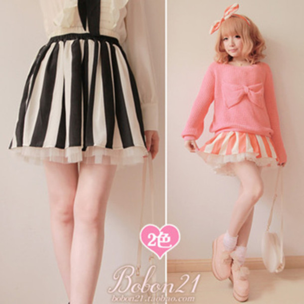 skirt BoBon21 lolita taobao stripes