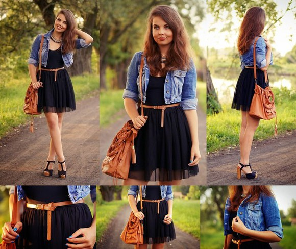 jacket denim jacket a piece of anna bag Belt shoes jewels leather bag little black dress