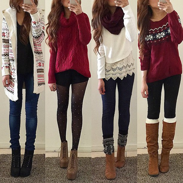sweater christmas sweater christmas fair isle fair isle sweater cardigan tights platform lace up boots platform combat boots boots leggings rinasenorita scarf red burgundy cute girly winter outfits winter sweater white blouse shoes