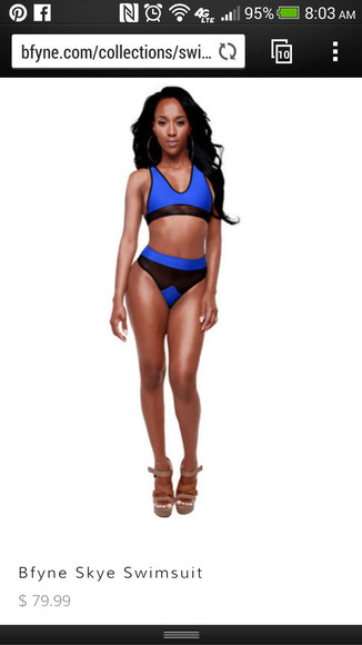 swimwear bikini blue bikini two-piece bikini top bikini bottoms blue swimwear bfyne.com mesh high cut bikini high cut swimwear