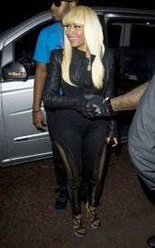 pants,gold,nicki minaj,black,embellished,leggings