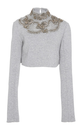 Cashmere Wool Sweatshirt Embroidered Cropped Ski Top by Sally LaPointe | Moda Operandi
