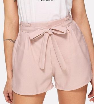 shorts girly pink tie front waist belt
