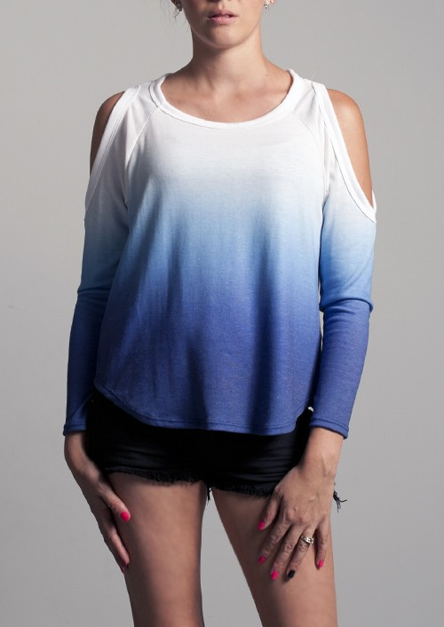 Blue ombre cutout shoulder top