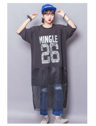 shirt korean fashion korean style korean street style korean shirt kstyle hipster punk hip hop cool t-shirt grey