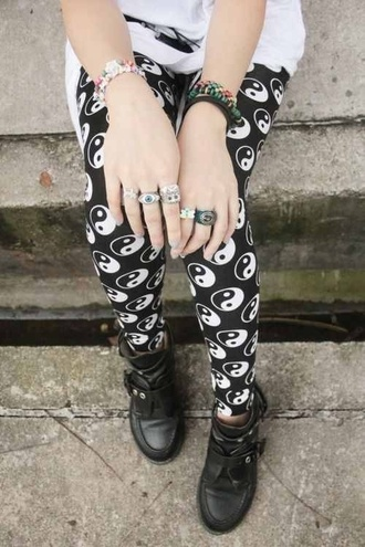 pants black yin yang leggings printed leggings jewels