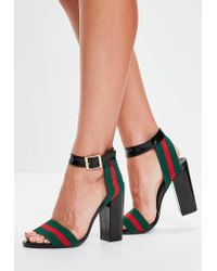 4f85a4ea3 Missguided | Black Striped Detail Block Heeled Sandals | Lyst