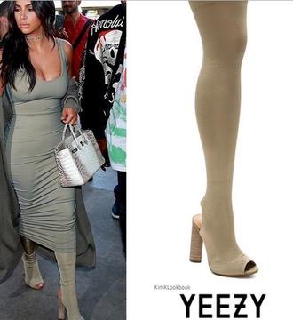 shoes boots over the knee boots knee-high boots open toes yeezy yeezus yeezy season 2 kim kardashian kardashians grey boots